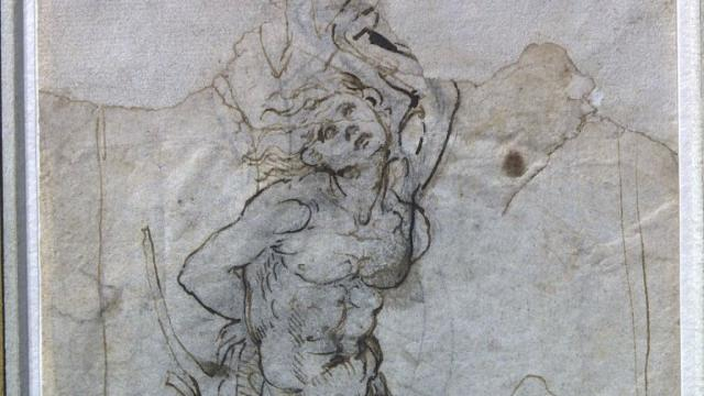A lost drawing by the Renaissance master Leonardo da Vinci, which was discovered in the papers of a French provincial doctor, was shown to the public for the first time by a Paris auction house. The dreamily sensual sketch of Saint Sebastian is thought to be worth around 15 million euros ($15.8 million). Video provided by AFP
