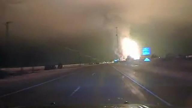 Raw: Police Car Camera Captures Pipeline Blast