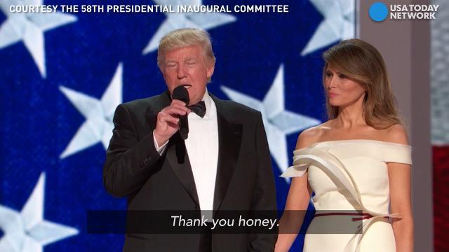 President Donald Trump took to the stage with first lady Melania by his side to thank supporters at the Liberty Ball.