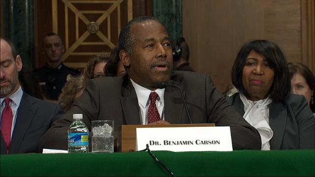 "Ben Carson testified before a Senate Committee Thursday on his nomination to be the Secretary of HUD. Carson talked about growing up in inner-city Detroit with a single mother, saying he has ""actualy understood what housing insecurity was."" (Jan. 12)"