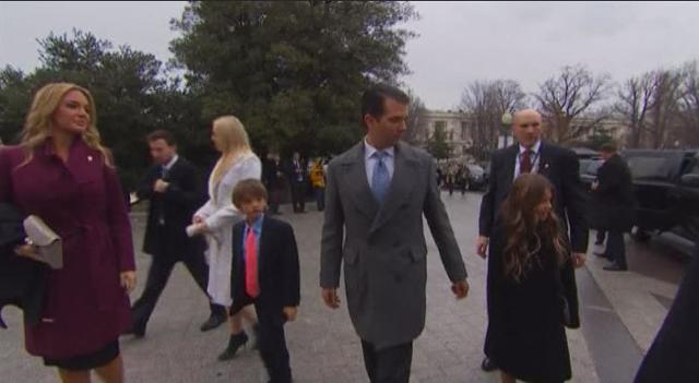 Donald Trump Jr., Ivanka Trump, President George W. Bush, President Bill Clinton, Hillary Clinton and Kellyanne Conway arrive at the U.S. Capitol for the inauguration.