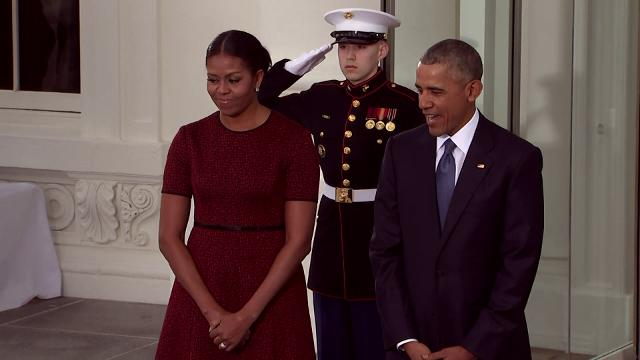 President Barack Obama and Michelle Obama welcomed the incoming president and first lady to the White House, two hours before Donald Trump will be sworn-in. Moments earlier, Vice President Biden welcomed the incoming vice president, Mike Pence. (Jan. 20)