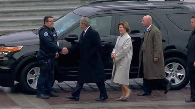The 43rd President of the United States, George W. Bush and wife Laura, arrive at the U.S. Capitol for Inauguration. (Jan 20)
