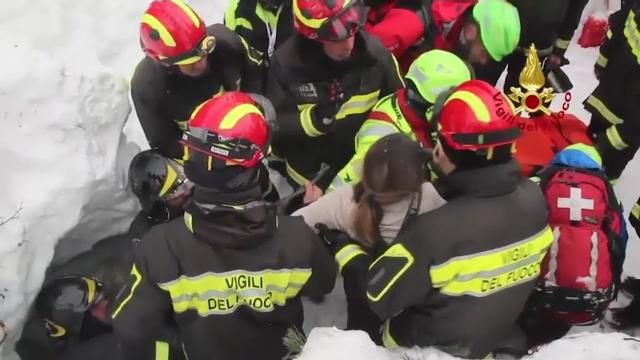 The number of people who have been found alive under the rubble of the avalanche-crushed hotel in central Italy has risen to eight, including two children. (Jan. 20)