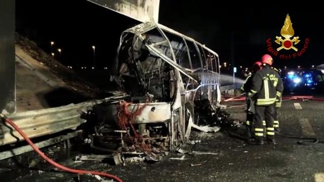 Sixteen people died when a coach bringing Hungarian teenagers home from a skiing trip crashed and burst into flames on a northern Italian motorway overnight, authorities said Saturday. Video provided by AFP
