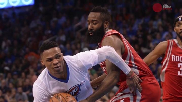 James Harden (13) reacts after a play during the third