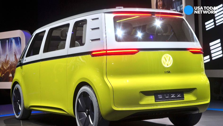 Volkwagen's concept microbus I.D. Buzz combines looks of VW's 60s icon microbus minivan. The vehicle was revealed during the 2017 North American International Auto Show at Cobo Center in Detroit.