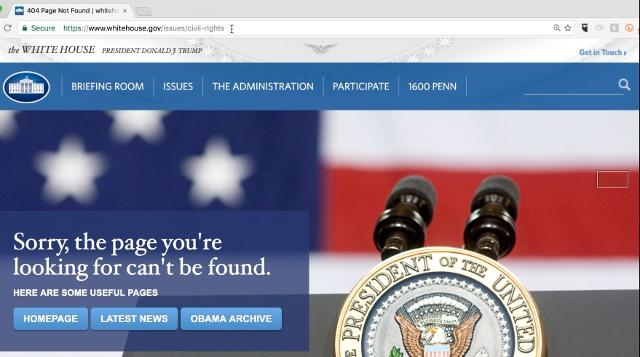 Pages for climate change, civil rights, disabilities, gay rights, and health care have disappeared on the White House website.