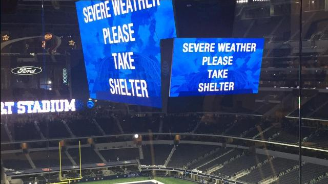 Those inside of AT&T Stadium have been told to take shelter in place as the city of Arlington experiences some severe weather.