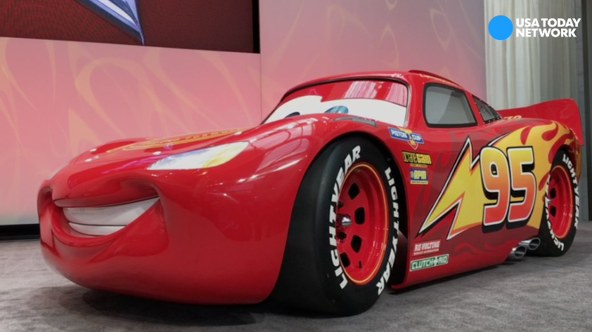 A life-size model of the four-wheeled character Lightning McQueen from Disney's Pixar's Cars made its debut at the North American International Auto Show in Detroit.