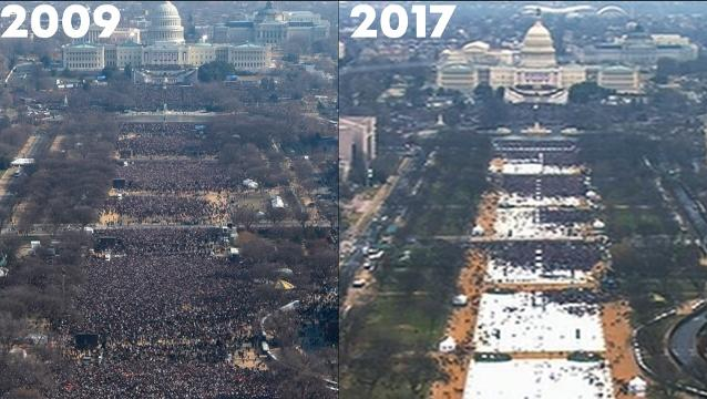 How Trump's inauguration crowd stacked up to Obama's