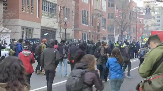 Raw: Protests erupt following Trump inauguration