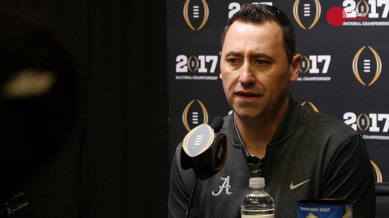 Alabama players discuss their new offensive coordinator at media day ahead of the College Football Playoff National Championship.