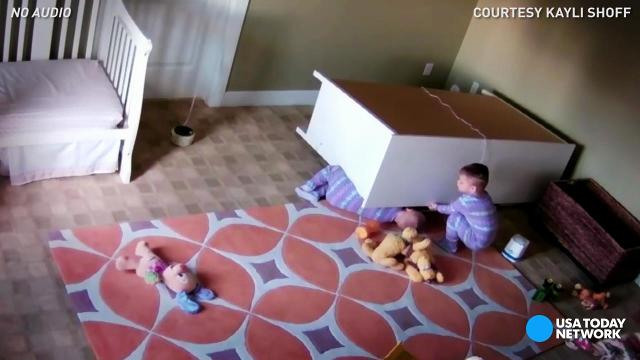Toddler rescues twin from fallen dresser