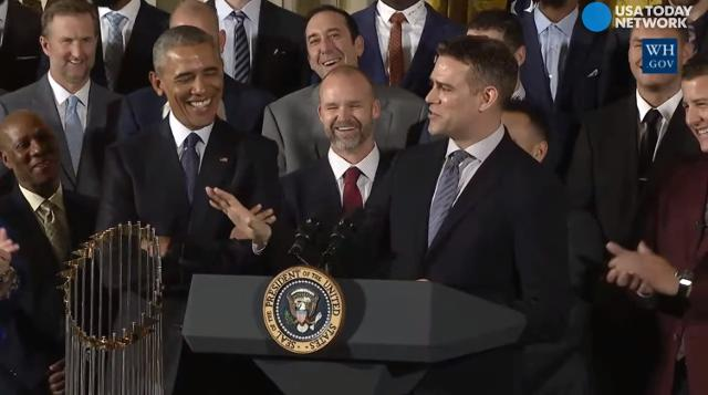 The Chicago Cubs poked fun at President Obama's allegiance to the White Sox as Theo Epstein, the team's president of baseball operations, granted him a 'midnight pardon' during the celebration of the World Series victory at the White House.