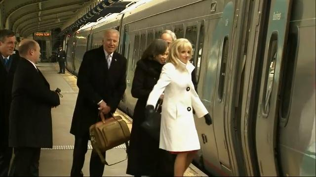 Raw: Former VP Biden Departs DC on Amtrak