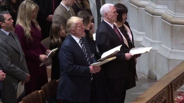 Donald Trump, Mike Pence and their wives attend an inter-denominational service at Washington's National Cathedral to mark the presidential inauguration.
