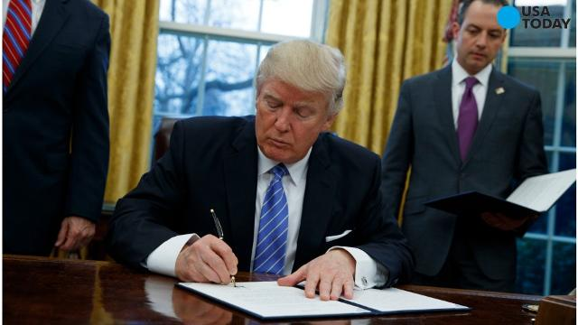 President Trump signed three presidential directives, including withdrawing from the Trans-Pacific Partnership, a 13-nation trade deal signed by the Obama administration.