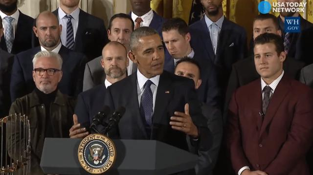 President Obama honored the World Series champion Chicago Cubs at the White House with a heartfelt message about the way sports can bring people together.