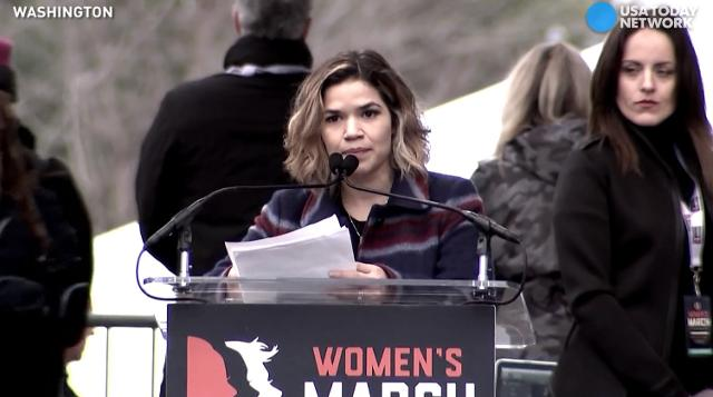 "America Ferrerra, speaking at the Women's March on Washington, lists reasons for the protest are for the ""moral core of this nation."""