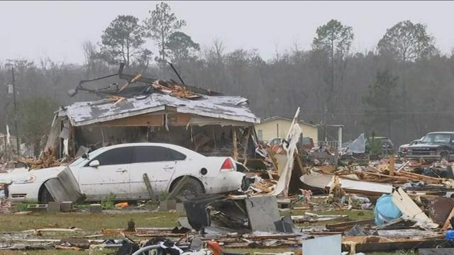 A mobile home park in Cook County Georgia appears to have been ground zero for at least one of the 30 tornadoes that ripped through Southwestern Georgia.  (23 January)