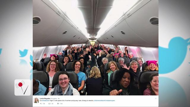 """As Donald Trump was taking the oath of office, planes across the country were headed to D.C. A lot of them were filled with """"nasty women"""". Susana Victoria Perez (@susana_vp) has more."""