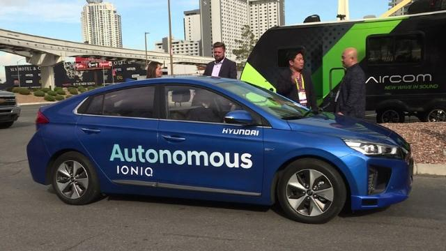 At the Consumer Electronics Show in Las Vegas, South Korean automaker Hyundai shows off its self-driving car. 