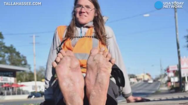 Man walking barefoot across America is struck, killed