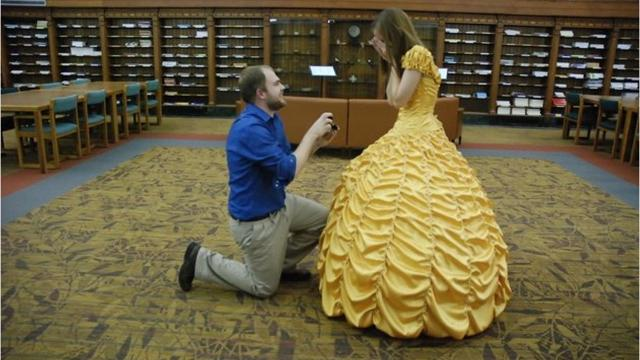 Guy sews dress from 'Beauty and the Beast' for proposal