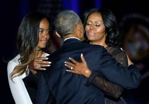 Emotional Obama thanks family during farewell speech