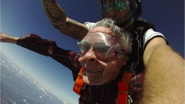 90-year-old jumps out of plane for birthday