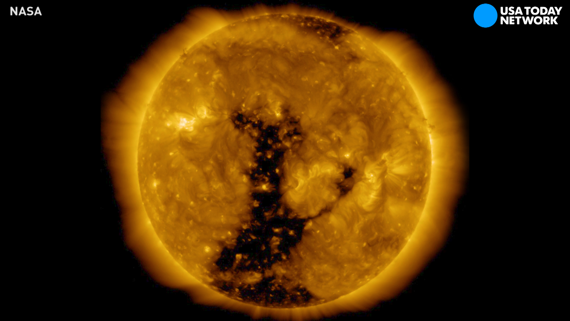 Watch massive coronal hole rotate across sun's surface