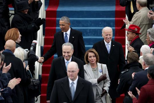 President Obama arrives at the swearing-in ceremony.