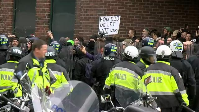 Raw: DC police confront group of demonstrators
