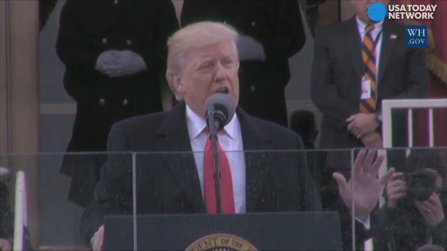 """After taking the oath of office to become the 45th president of the United States, President Trump addressed the nation, pledged to """"rebuild our country and restore its promise for all our people."""""""