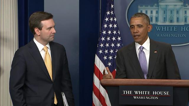 President Barack Obama made a surprise interruption in the White House briefing room Tuesday to honor press secretary Josh Earnest during his final briefing. Obama praised Earnest for his integrity and called him a 'really, really good man.' (Jan. 17)