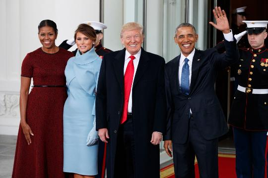 Watch 44 greet 45. The Obamas welcomed the Trumps to the White House ahead of the inauguration.