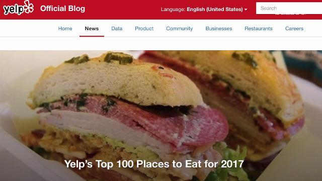 Yelp releases its top 100 places to eat for 2017