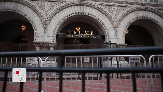 As President Trump trades in his golden penthouse for the White House, businesses bearing the mogul's name may be at risk. Nathan Rousseau Smith (@fantasticmrnate) has the story.