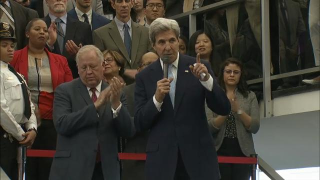 U.S. Secretary of State John Kerry delivers remarks