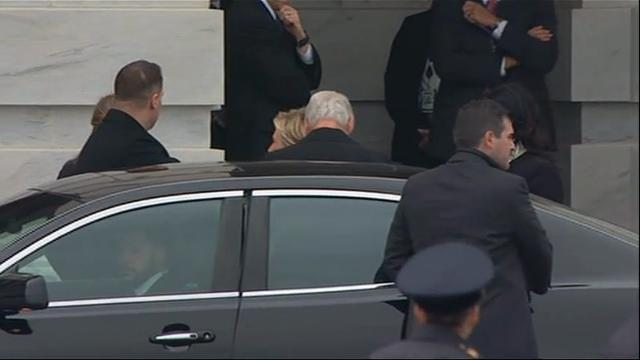 Former President Jimmy Carter and former First Couple Bill and Hillary Clinton arrived at the U.S. Capitol for the inauguration of Donald Trump as the nation's 45th president. Clinton lost to Trump in a bitterly fought 2016 election. (Jan. 20)