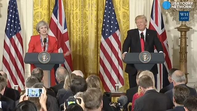 Trump, May react when asked about their disagreements