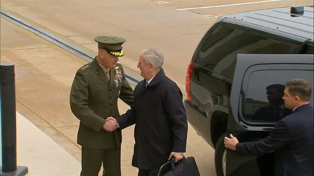 James Mattis, President Donald Trump's Defense Secretary, arrives at the Pentagon for his first visit since being sworn into office Friday night. (Jan. 21)