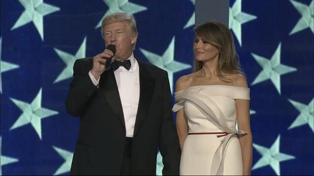 """President Donald Trump asked the crowd at the second of three inaugural balls Friday whether he should """"keep the Twitter going?"""" shortly before the crowd roared in apparent approval. The first couple then proceeded to dancing the song """"My Way"""" onstage. (Jan. 20)"""