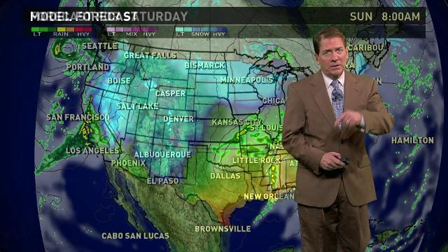 The national weather forecast for Saturday, Jan 21 calls for rain and snow in the West, a wintry mix from the Northern Plains to the Great Lakes, and showers and thunderstorms in the South.