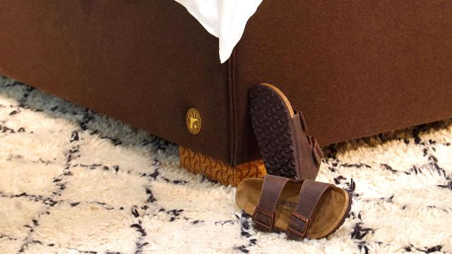 The beds and mattresses are made of all-natural components, including the same leather, felt, and cork as many of Birkenstock's best-known sandals.