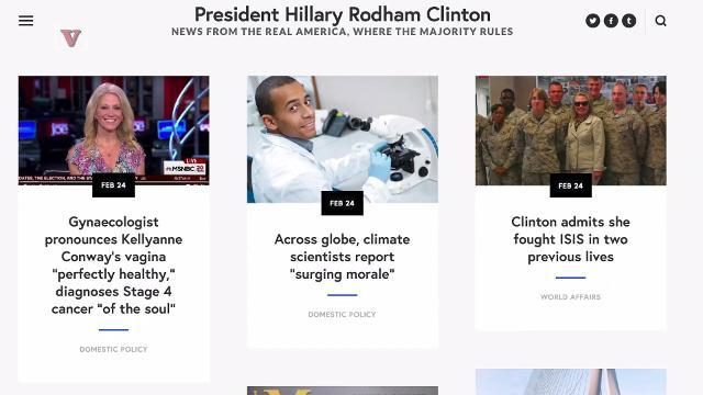 Website imagines world where Hillary Clinton won
