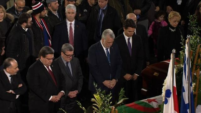 Canadian Prime Minister Justin Trudeau addresses mourners during a funeral ceremony for two Algerians and a Tunisian man killed with three others in a mosque shooting in Quebec City.