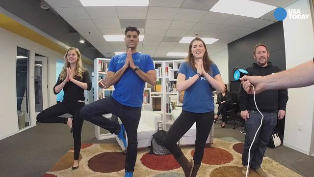 In this excerpt from a #TalkingTech Live broadcast, the panelists end the show with a yoga segment.