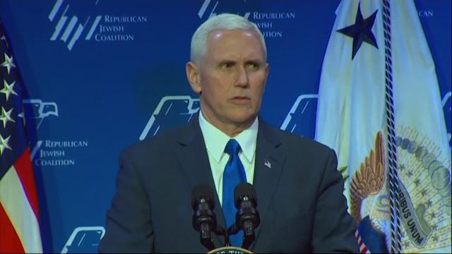 "Vice President Mike Pence said on Friday the Trump administration would""hunt down and destroy"" the Islamic State group (IS), and he talked tough on Iran at the Republican Jewish Coalition's annual conference in Las Vegas. (Feb. 24)"